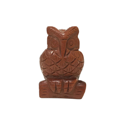 """Gorgeous Hand Carved Goldstone 2.5"""" Owl Sculpture Figurine"""