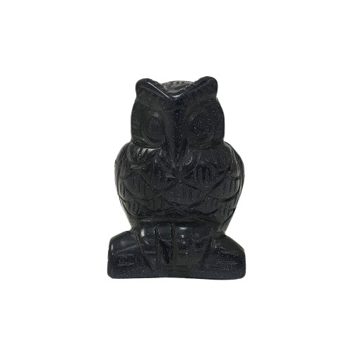 """Gorgeous Hand Carved Blue Goldstone 2.5"""" Owl Sculpture Figurine"""