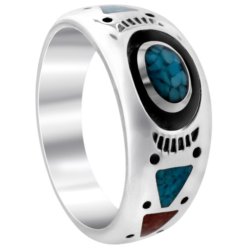 Southwestern Style Turquoise and Coral Gemstone Sterling Silver Band Ring
