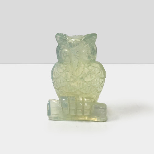 """Gorgeous Hand Carved Clear Opalite 2.5"""" Owl Sculpture Figurine"""