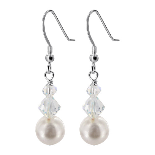 925 Silver White Pearl with Swarovski Clear AB Crystal Handmade Drop Earrings