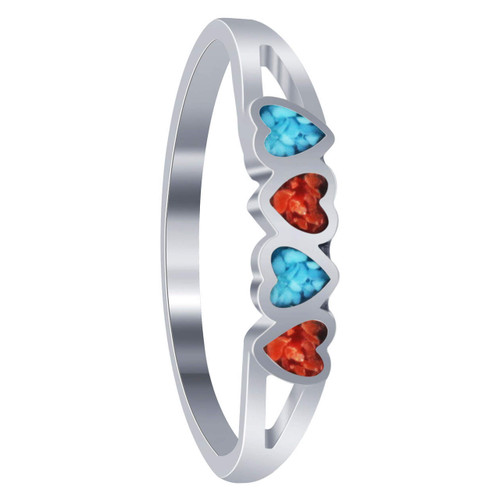 Turquoise and Coral Gemstone Sterling Silver Heart Ring