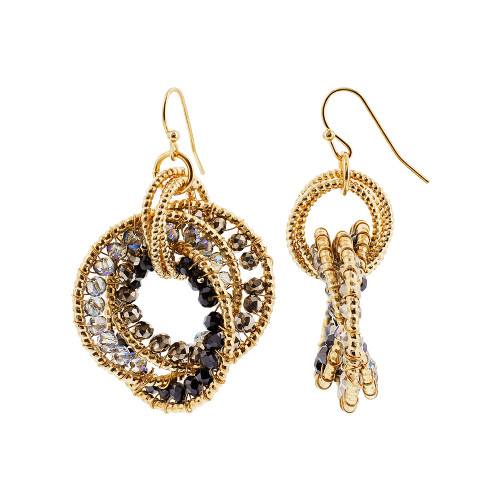 Gold Tone Intricate Cirl with Black AB Beads French Hook Dangle Earrings