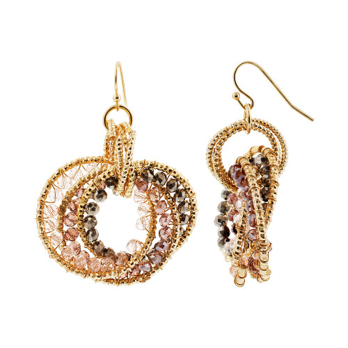 Gold Tone Intricate Circle with Round Purple AB Beads Dangle Earrings