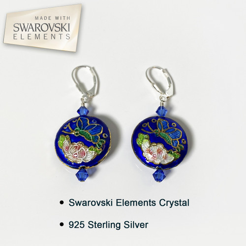 Cloisonne Beads Leverback Drop Earrings