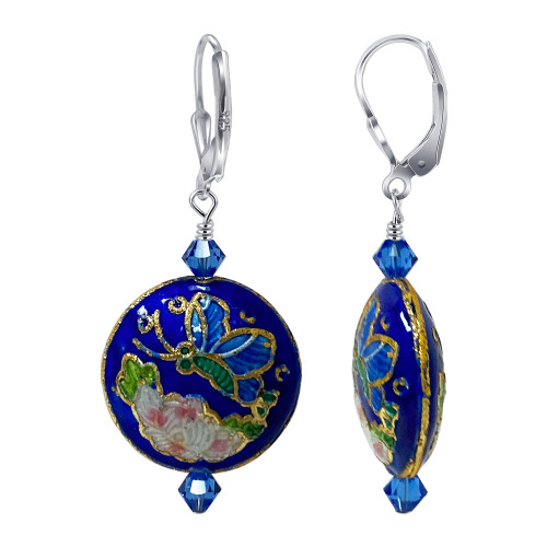 Cloisonne Beads with Swarovski Elements Crystal Sterling Silver Leverback Handmade Drop Earrings