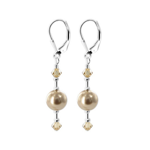 Faux Brown Pearl Swarovski Elements Crystal Sterling Silver Handmade Leverback Drop Earrings