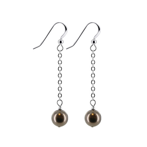 Dark Brown Faux Pearl with Swarovski Elements Sterling Silver Handmade Drop Earrings