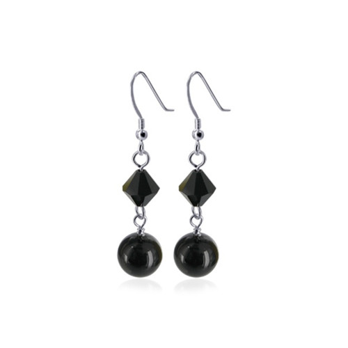 Black Faux Pearl with Swarovski Elements Crystal Sterling Silver Handmade Drop Earrings