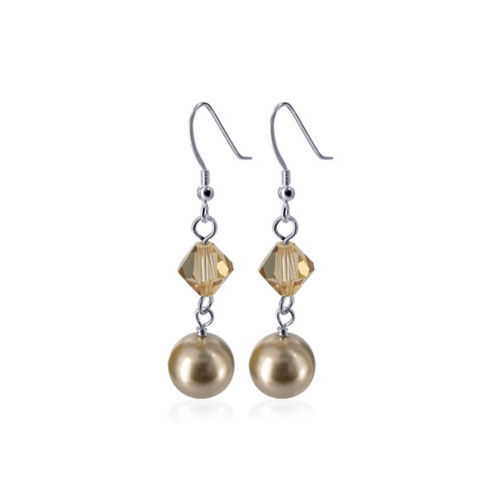Brown Faux Pearl with Swarovski Elements Crystal Sterling Silver Handmade Drop Earrings