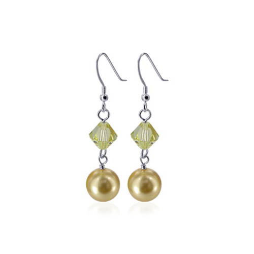 Golden Faux Pearl with Swarovski Elements Crystal Sterling Silver Handmade Drop Earrings