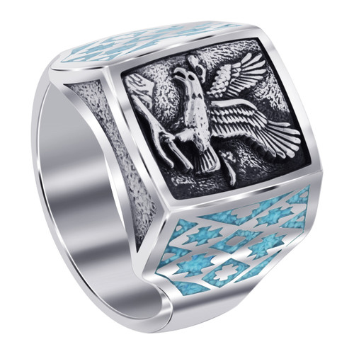 Men's Southwestern Style Turquoise Gemstone Eagle 925 Sterling Silver Ring