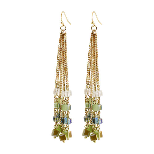 Gold Tone Green and Clear AB Square Beads French Tassels Dangle Earrings