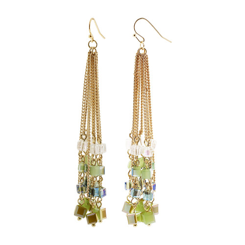 Gold Tone Green and Clear AB Square Beads Dangling Earrings