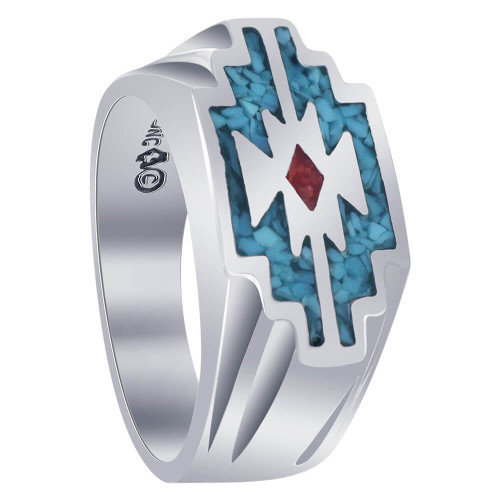 Men's Southwestern Style Turquoise and Coral Gemstone Sterling Silver Ring