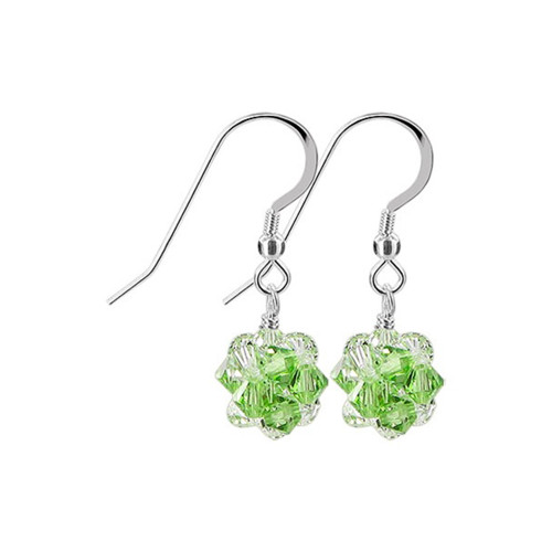 3mm Ball Swarovski Elements Green Clear AB Crystal Sterling Silver Handmade Drop Earrings