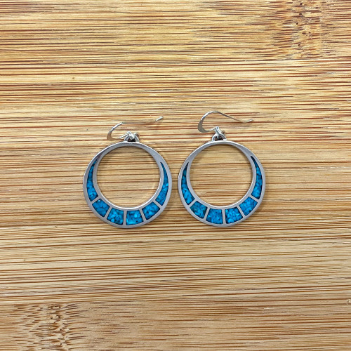Hoop Shape Turquoise Gemstone Inlay Sterling Silver Drop French Wire Earrings