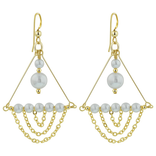 14K Gold Filled Swarovski Elements Faux White Pearl Chandelier Drop Earrings