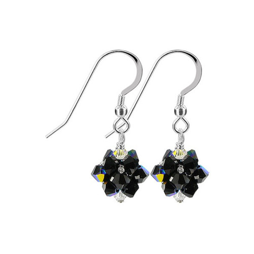 3mm Ball Swarovski Elements Black AB Crystal Sterling Silver Handmade Drop Earrings