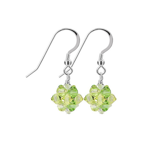 3mm Ball Swarovski Elements Yellow Green Crystal Sterling Silver Handmade Drop Earrings