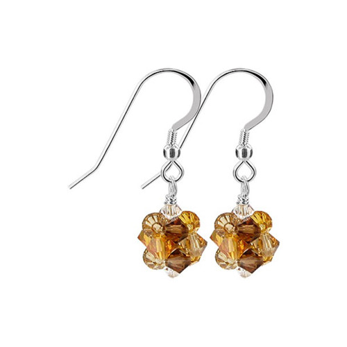 3mm Ball Swarovski Elements Gold Crystal Sterling Silver Handmade Drop Earrings