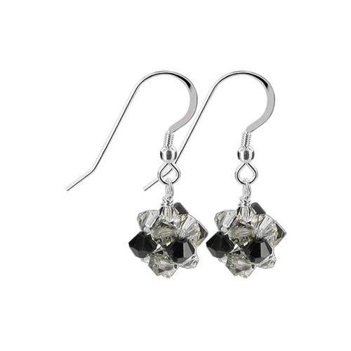 3mm Ball Swarovski Elements Black Crystal Sterling Silver Handmade Drop Earrings