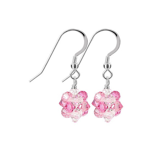 3mm Ball Swarovski Elements Pink Clear AB Crystal Sterling Silver Handmade Drop Earrings
