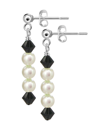 Sterling Silver Freshwater Pearl with Swarovski Elements Crystal Post-Back Handmade Drop Earrings