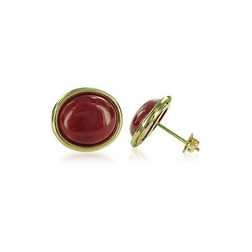 14K Yellow Gold with Oval Jade Red Gemstone Earrings