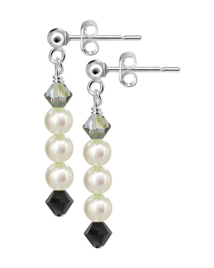 Freshwater Pearl with Swarovski Elements Crystal Sterling Silver Post-Back Handmade Drop Earrings