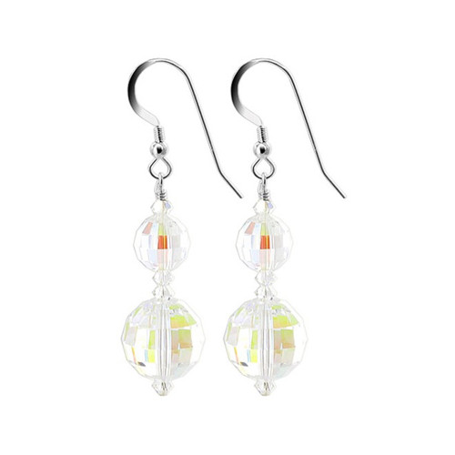 Round Multifaceted Clear AB Swarovski Elements Crystal Sterling Silver Handmade Drop Earrings