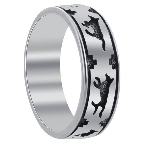 Southwestern Style Running Wolf Sterling Silver Wedding Band Ring