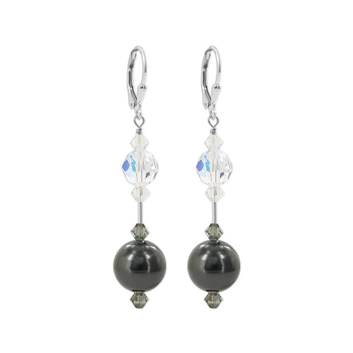 Faux Pearl with Clear AB Swarovski Elements Crystal Sterling Silver Leverback Drop Earrings