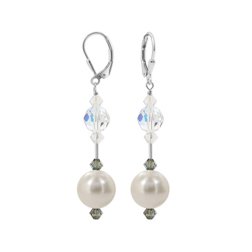 Faux Pearl with Clear AB Swarovski Elements Crystal Sterling Silver Leverback Handmade Drop Earrings