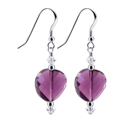 Purple Crystal Sterling Silver Drop Earrings