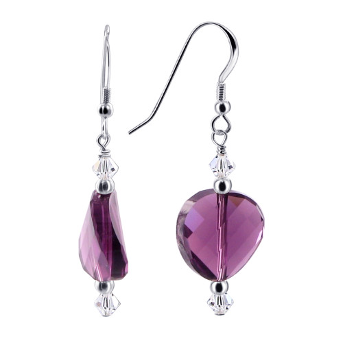14 x 13mm Swarovski Elements Purple Crystal Sterling Silver Handmade 1.5 inch Drop Earrings