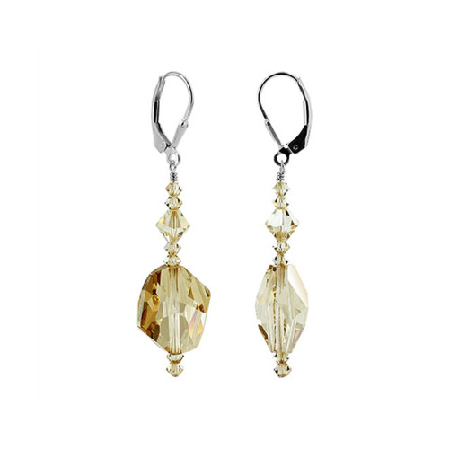 Charming Swarovski Elements Yellow Crystal Sterling Silver Leverback Handmade Drop Earrings