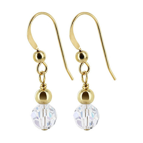 Gold filled 4mm Ball with 6mm Round Swarovski Elements Crystal Dangle Earrings
