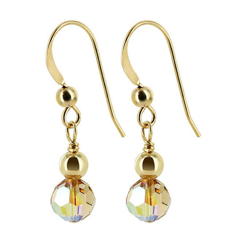 Gold filled 4mm Ball with Swarovski Elements Yellow Crystal Earrings