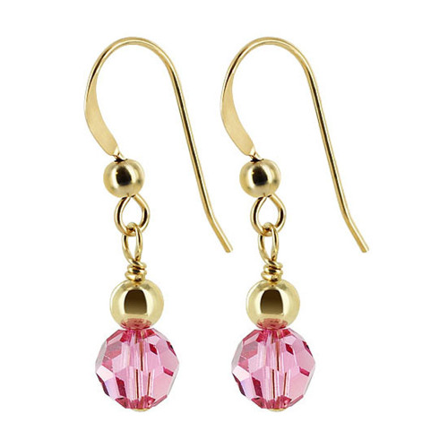 14k Gold filled 6mm Round Swarovski Elements Rose Crystal Handmade Drop Earrings