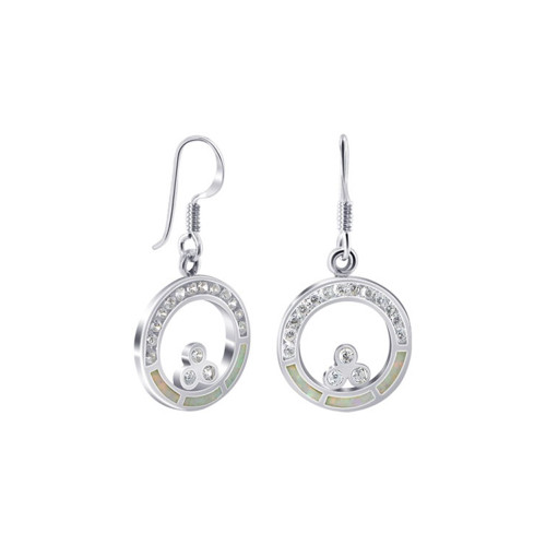 White Created Opal with CZ Accents 925 Sterling Silver French Hook Earrings