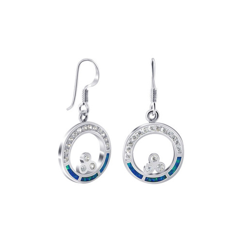 Blue Created Opal with CZ Accents 925 Sterling Silver French Hook Earrings