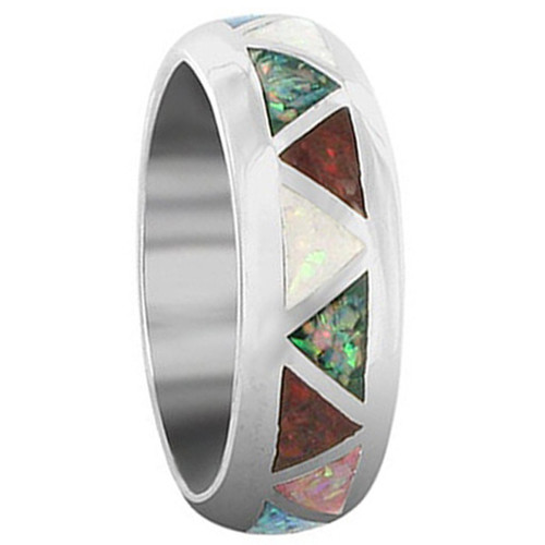 Sterling Silver Multicolor Created Opal Southwestern Style 7mm Wedding Band Ring
