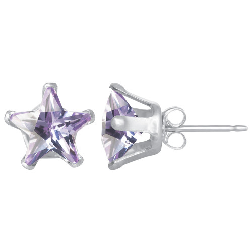 8mm Star Shape Violet Color CZ Cubic Zirconia February Birthstone Post Back Sterling Silver Stud Earrings
