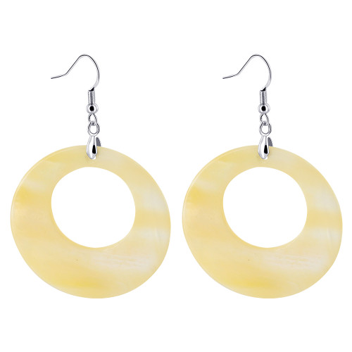 Donut Dyed White Mother of Pearl Stainless Steel French Hook Dangle Earrings