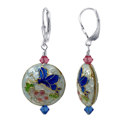 Cloisonne Bead with Swarovski Elements Crystal 925 Silver Leverback Handmade Drop Earrings