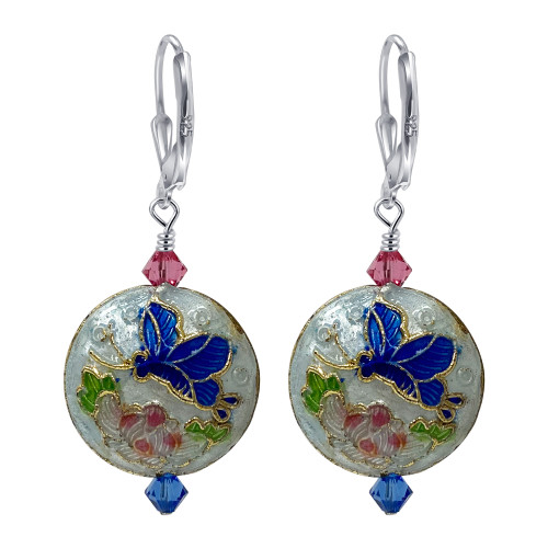 Cloisonne Bead 925 Silver Leverback Handmade Drop Earrings