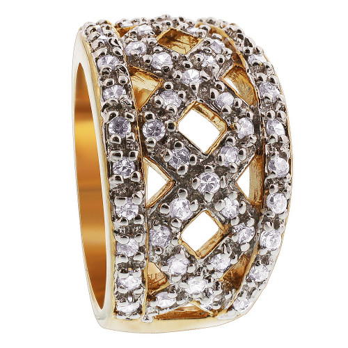 Gold Over 925 Sterling Silver Cubic Zirconia Ring