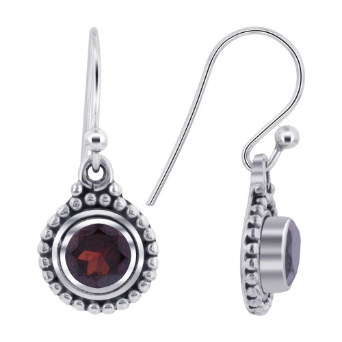 10mm Round Garnet Gemstone Bezel Setting Sterling Silver Drop Earrings