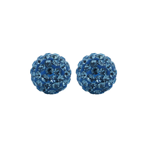 6mm Round Blue Crystal Ball Post Back Finding Sterling Silver Stud Earrings